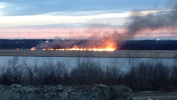A Twitter user snapped this photograph of the large marsh fire burning in the north end of Kingston on Friday afternoon.
