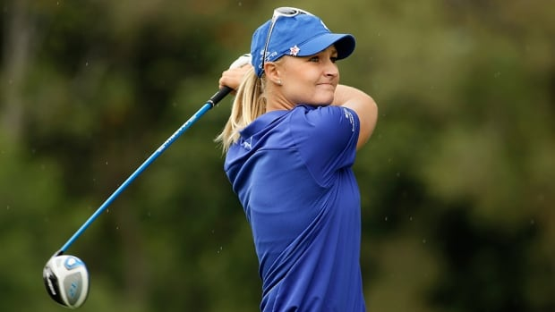 Anna Nordqvist hits her tee shot on the third hole during the second round at the Guadalajara Country Club on November 15, 2013 in Guadalajara, Mexico.