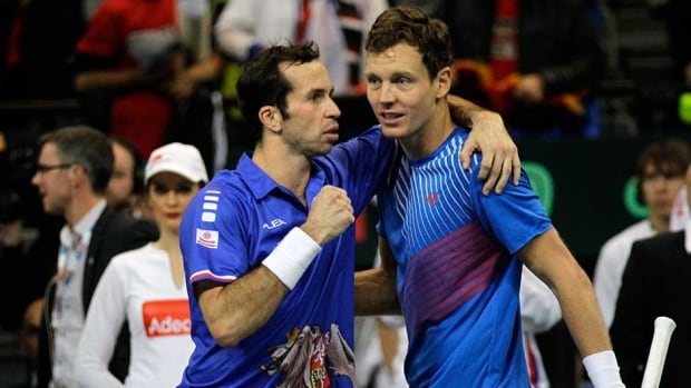 Czech Republic's Radek Stepanek, left, and Tomas Berdych, jubilate after they won their Davis Cup finals doubles match against Nenad Zimonjic and Ilija Bozoljac of Serbia, in Belgrade, Serbia on Saturday.
