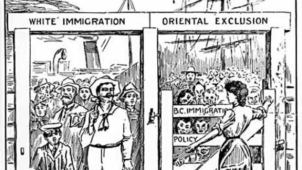 A cartoon encouraging the exclusion of Chinese immigrants appeared in the B.C. Saturday Sunset newspaper on August 24, 1907.