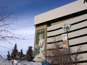 Kent Austin banner at Mosaic Stadium in Regina