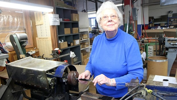 "Delores Kielbowich has been making brushes at Felton Brushes for 64 years. ""All I can say is I'm grateful for my health and for the ability to work,"" she says."