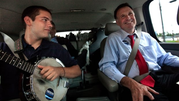 U.S. state Senator Creigh Deeds with his son Gus, left, between campaign events in September 2005. Virginia State Police said Gus stabbed his father multiple times Tuesday and then died from a self-inflicted gunshot wound.