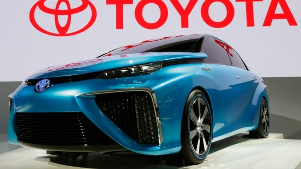 A Toyota FCV (Fuel Cell Vehicle) concept car is displayed at the Tokyo Motor Show at in Tokyo on Wednesday.