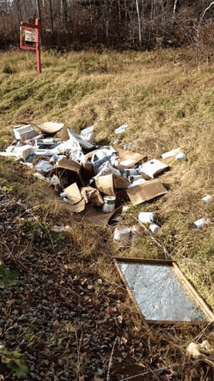 Garbage dumped in ditch off Homstead Road outside Moncton