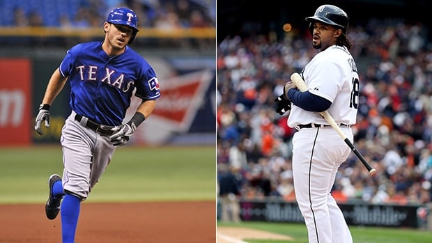 Texas Rangers second baseman Ian Kinsler, left, and Detroit Tigers first baseman Prince Fielder would switch teams.