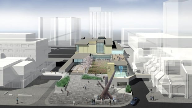 The Art Gallery of Hamilton is planning about $30 million in renovations. This includes a new entrance and sculpture garden facing Main Street, as shown in this draft image depicting a view from city hall.