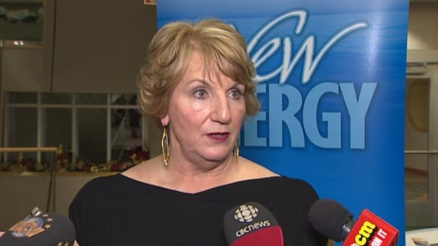 Kathy Dunderdale speaks with reporters after PC fundraiser