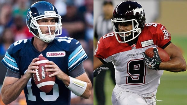Argonauts quarterback Ricky Ray, left, and Stampeders running back Jon Cornish are the finalists for Most Outstanding Player.