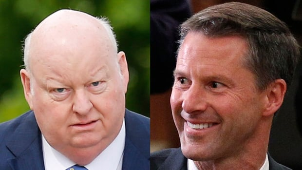 The trial of suspended senator Mike Duffy, left, on fraud and breach of trust charges resumes this week and will hear from a star witness in the case, former PMO chief of staff Nigel Wright, right.