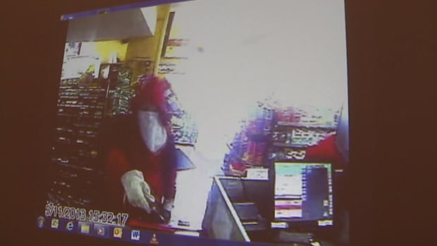 Justin Wiseman in an armed robbery surveillance video