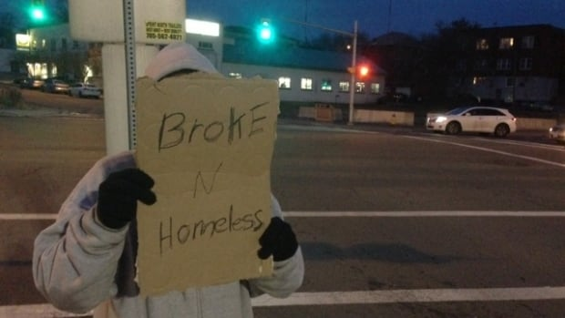 A panhandler in Sudbury, Adrian, has been homeless for two months. He said panhandlers are moving out of the downtown area because they're not getting as much money as they used to.