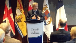 Premier David Alward at the Saint John water funding announcement