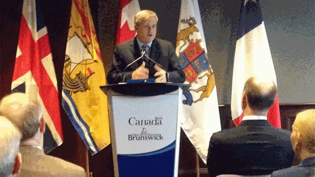 Premier David Alward at the Saint John water funding announcement
