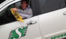 Rider fan with Ticats flag