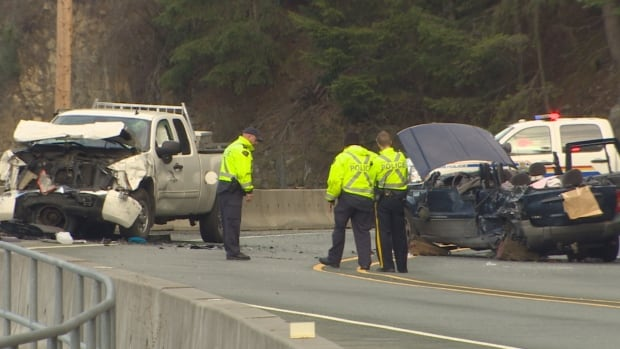 Two young women were killed and two others were sent to hospital after the Jeep Cherokee they were riding in lost control and collided head-on with a pick-up truck on Highway 99 five kilometres north of Lions Bay.