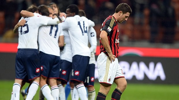 Daniele Bonera of Milan dejected at the end of the match against Genoa at Stadio Giuseppe Meazza on November 23, 2013 in Milan.