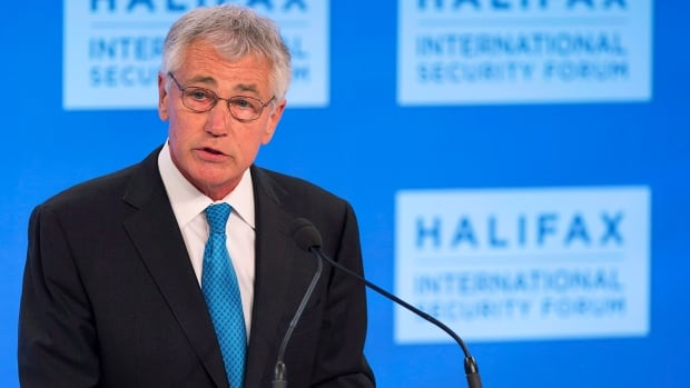 U.S. Secretary of Defence Chuck Hagel addresses a session at the Halifax International Security Forum in Halifax, N.S. on Friday, Nov. 22, 2013.