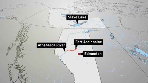 A plume of contaminated wastewater spilled from the Obed Mountain Mine near Hinton, Alta. is making its way north at a rate of two to five km/h.