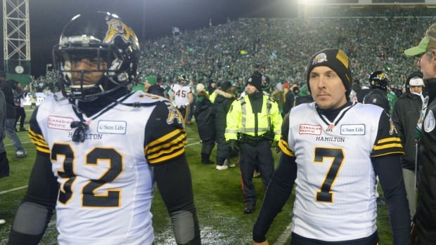 Hamilton Tiger-Cats running back C.J. Gable, left, and kicker Luca Congi walk off the field after losing to the Saskatchewan Roughriders at the Grey Cup, Sunday, November 24, 2013 in Regina.