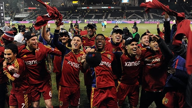 Real Salt Lake players celebrate winning the Western Conference Championship after the game against the Portland Timbers at Jeld-Wen Field on November 24, 2013 in Portland.