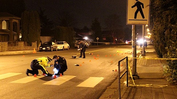 Police investigate after a pedestrian was struck and killed in an intersection in Richmond, B.C. on Sunday evening.