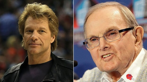 The publicist for rocker Jon Bon Jovi, left, says the musician isn't pursuing ownership of the NFL's Bills while current team owner Ralph Wilson, right, has maintained he has no interest in selling the franchise during his lifetime. He recently turned 95.