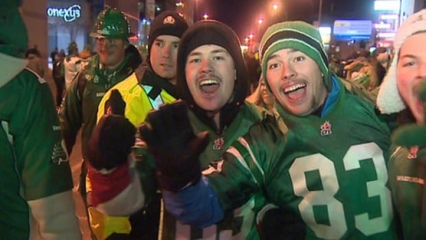 Thousands were out on the streets of Regina Sunday night to celebrate their beloved Roughriders' 45-23 Grey Cup victory over the Hamilton Tiger-Cats.