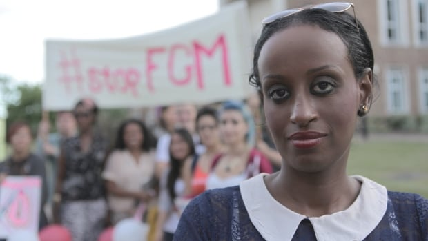Anti-FGM activist Leyla Hussein with protestors at a rally outside town hall in Maidenhead, UK, on August 30th, 2013.