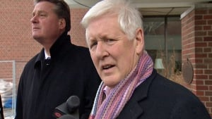 Bob Rae speaks to reporters in Toronto Centre