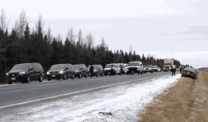 More than 20 RCMP vehicles responded to an anti-shale gas protest along Highway 11 on Tuesday.