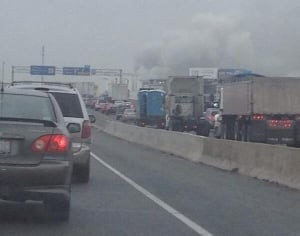 Smoke billowing near scene of Highway 401 and Weston Road fire