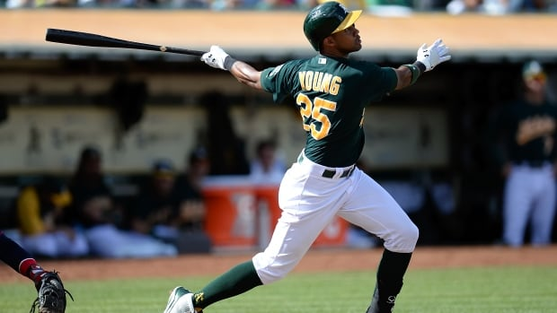 Chris Young, seen here with the Oakland Athletics, has signed on with the New York Mets. Young's best years came with the Arizona Diamondbacks when he hit 32 home runs in 2007-08 and 27 homers in 2010-11.