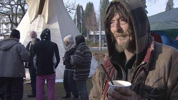Residents at the homeless protest camp in Jubilee Park in 2014 refused to leave, despite threats of an injunction from the City of Abbotsford.