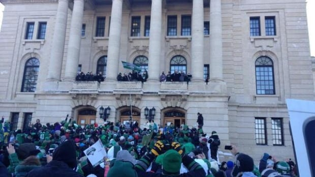 Thousands attended a rally at the legislature to celebrate the Roughriders' Grey Cup win.