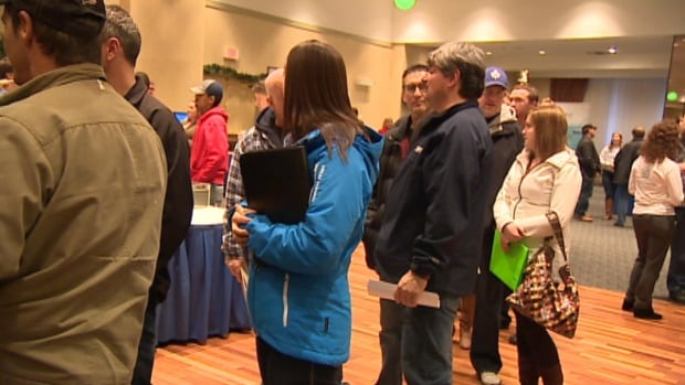 There were long lineups at a Nalcor job fair in St. John's on Tuesday.