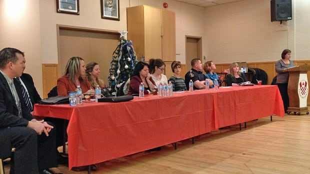 About 30 people attended a public meeting called Sex Work, Stigma and Access to Community Resources, which was held in Sudbury's Donovan neighbourhood. Pictured here is the panel of speakers from the event held Nov. 26