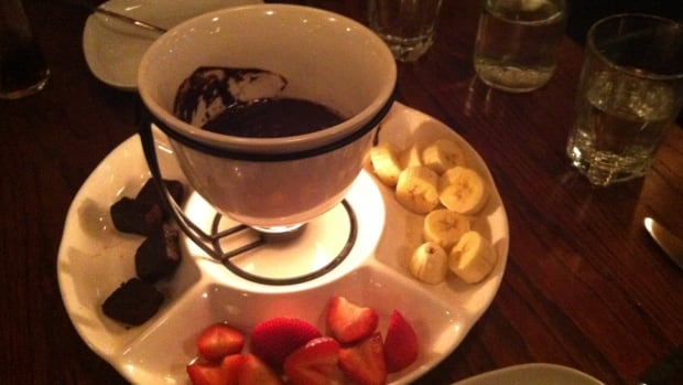 Chocolate fondue is a popular dessert on fondue nights at Absinthe.
