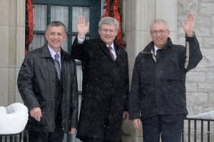 Prime Minister Stephen Harper greets new MPs