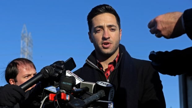 Milwaukee Brewers outfielder Ryan Braun talks about his baseball suspension outside Miller Park on Wednesday in Milwaukee.