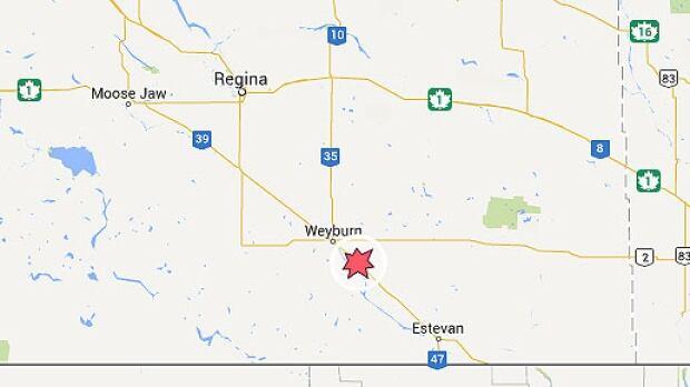 Weyburn, Sask., crash map