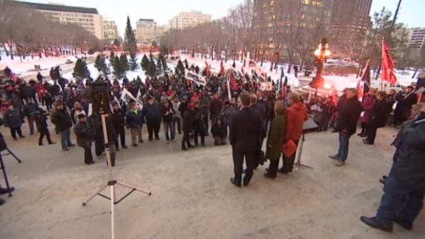 About 500 people held a protest against two new government bills at the Alberta legislature on Thursday.