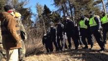 An anti-shale gas protest closed Hwy 11 near Rexton on Nov. 29, 2013