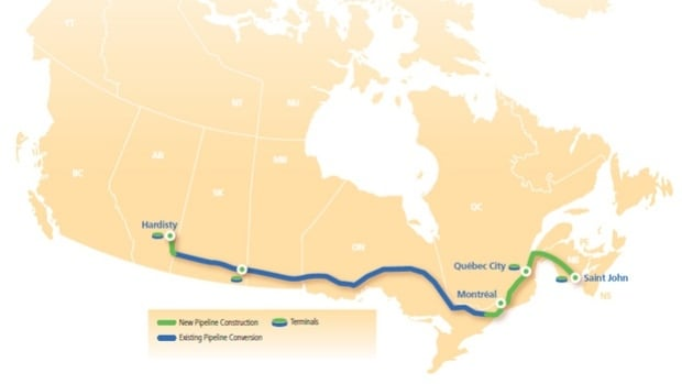 The proposed west-east pipeline extension would see Alberta crude transported to a refinery in Saint John, New Brunswick.