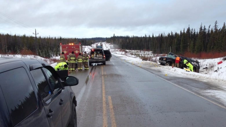 2 people killed in crash on B C 's Highway 16   CBC News