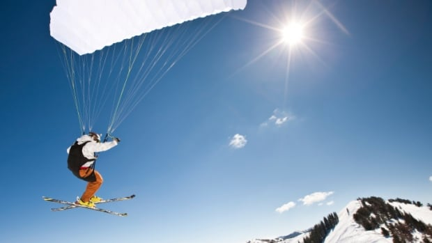 Speed riding, also known as speed flying, combines skiiing (or running) with parachuting.