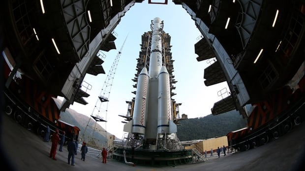 "The Long March 3B rocket carrying the Chang'e-3 lunar probe is prepared for launch at the Xichang Satellite Launch Center in Xichang in southwest China's Sichuan province on Sunday, Dec. 1, 2013. China will the launch Chang'e-3 lunar probe in the early hours of Monday Dec. 2, 2013, that will send the country's first lunar lander and rover named ""Jade Rabbit"" onto the moon according to state media."