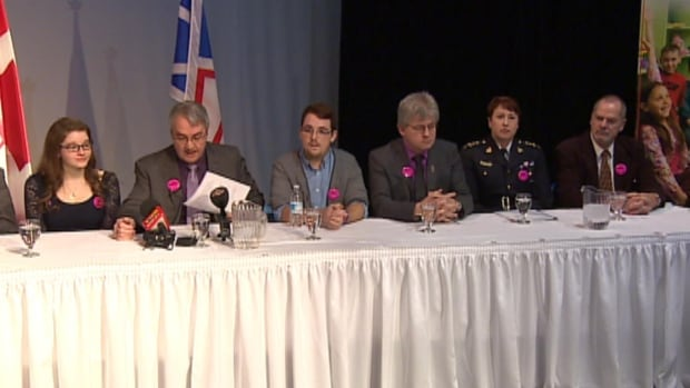 Students, educators, and law enforcement officials joined N.L. Education Minister Clyde Jackman for a news conference announcing updated anti-bullying legislation.