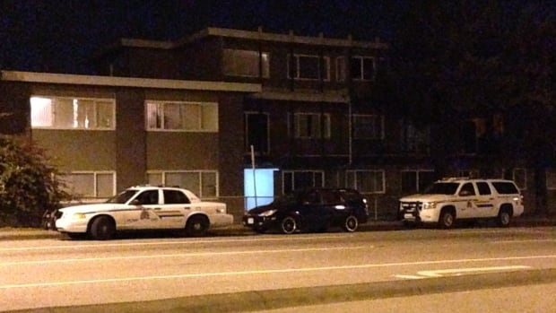 Police were called to the 4900 block of Hastings Street around 4:30 p.m. PT Monday where they found the woman's body inside an apartment.