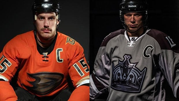 The Ducks, left, and the Kings will sport their new sweaters when they play at Dodger Stadium in late January.